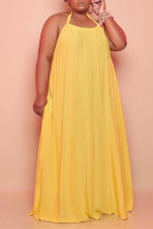 Yellow Sexy Casual Plus Size Solid Backless Halter Sleeveless Dress