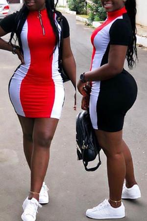 Red Sexy Fashion Cap Sleeve Short Sleeves Turndown Collar Step Skirt skirt Patchwork Print chain