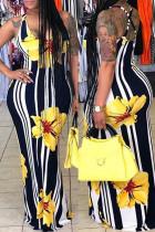 Yellow Fashion Casual Print Basic U Neck Vest Dress