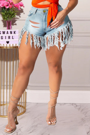 Light Blue Fashion Casual Solid Tassel Ripped High Waist Straight Jeans