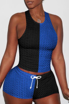 Blue Black Casual Sportswear Patchwork Basic O Neck Sleeveless Two Pieces