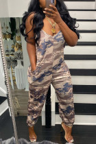 Camouflage Fashion Casual Camouflage Print Backless V Neck Regular Jumpsuits