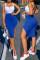 Blue Sexy Casual Solid Split Joint Backless Slit U Neck Vest Dress