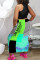 Blue Fashion Casual Letter Printing Vest Top Skirt Two-piece Set