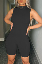 Black Fashion Casual Solid Basic O Neck Sleeveless Skinny Romper