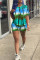 Blue Fashion Casual Tie Dye Printing O Neck Short Sleeve Two Pieces