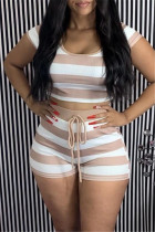 Coffee Casual Striped Print Basic O Neck Short Sleeve Two Pieces
