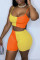 Orange Yellow Sexy Casual Patchwork Backless Spaghetti Strap Sleeveless Two Pieces