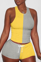 Yellow Casual Sportswear Patchwork Basic O Neck Sleeveless Two Pieces