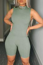 Green Fashion Casual Solid Basic O Neck Sleeveless Skinny Romper