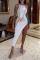 White Sexy Color Block High Opening O Neck Irregular Dress Dresses
