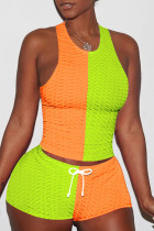 Orange Green Casual Sportswear Patchwork Basic O Neck Sleeveless Two Pieces