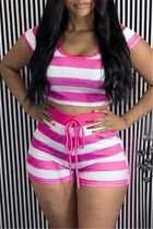Rose Red Casual Striped Print Basic O Neck Short Sleeve Two Pieces