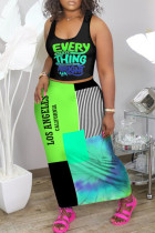 Green Fashion Casual Letter Printing Vest Top Skirt Two-piece Set