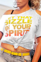 White Fashion Casual Letter Print Hollowed Out Oblique Collar T-Shirts