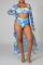Blue Sexy Print Split Joint Swimwears Three Pieces
