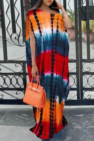 Orange Fashion Casual Tie Dye Printing Oblique Collar Short Sleeve Dress