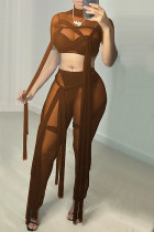 Coffee Fashion Sexy Solid Split Joint See-through Turtleneck Short Sleeve Two Pieces