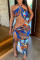 Blue Fashion Sexy Print Hollowed Out Backless Slit Halter Sleeveless Dress
