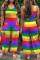 Rainbow Color Fashion Casual Striped Print Basic U Neck Regular Jumpsuits