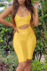 Yellow Sexy Casual Solid Hollowed Out U Neck Skinny Romper