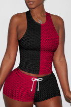Black Red Casual Sportswear Patchwork Basic O Neck Sleeveless Two Pieces