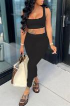 Black Casual Sportswear Solid Backless Boat Neck Sleeveless Two Pieces