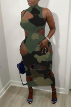 Camouflage Fashion Sexy Camouflage Print Hollowed Out Half A Turtleneck Sleeveless Dress