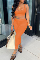 Orange Casual Sportswear Solid Backless Boat Neck Sleeveless Two Pieces