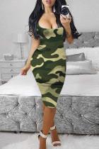 Camouflage Fashion Sexy Print Basic U Neck Vest Dress