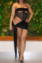 Black Fashion Sexy Patchwork Solid Hollowed Out See-through Strapless Sleeveless Two Pieces