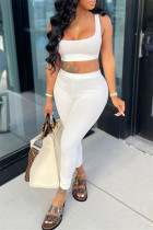 White Casual Sportswear Solid Backless Boat Neck Sleeveless Two Pieces