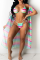 Pink Sexy Print Hollowed Out Split Joint Swimwears