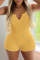 Yellow Sexy Solid Split Joint V Neck Skinny Jumpsuits