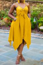 Yellow Fashion Sexy Plus Size Solid Split Joint Asymmetrical V Neck Sling Dress