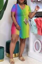 Gradient Color Fashion Casual Gradual Change Print Slit V Neck Plus Size Two Pieces
