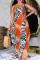 Orange Sexy Print Split Joint Spaghetti Strap Straight Plus Size Dresses