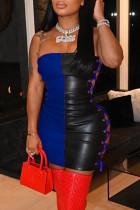 Blue Fashion Sexy Patchwork Backless Strap Design Strapless Sleeveless Dress