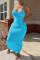 Sky Blue Sexy Solid Split Joint Spaghetti Strap Pencil Skirt Dresses