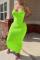 Fluorescent Green Sexy Solid Split Joint Spaghetti Strap Pencil Skirt Dresses