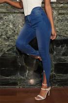 Medium Blue Fashion Casual Solid Slit Zipper Plus Size Jeans