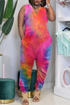 Red Casual Print Tie-dye O Neck Loose Jumpsuits