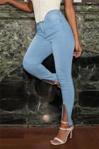 Light Blue Fashion Casual Solid Slit Zipper Plus Size Jeans