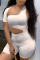 White Solid Hollowed Out One Shoulder Skinny Jumpsuits
