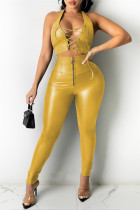 Yellow Fashion Sexy Solid Hollowed Out Backless Halter Sleeveless Two Pieces