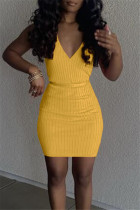Yellow Sexy Casual Solid With Belt V Neck Vest Dress