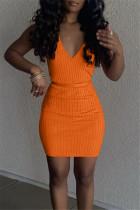 Orange Sexy Casual Solid With Belt V Neck Vest Dress