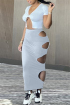Grey Fashion Sexy Solid Hollowed Out Asymmetrical V Neck Short Sleeve Two Pieces