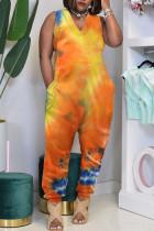Orange Casual Print Tie-dye O Neck Loose Jumpsuits
