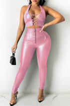 Pink Fashion Sexy Solid Hollowed Out Backless Halter Sleeveless Two Pieces